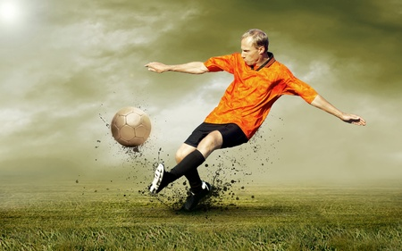 Shoot of football player on the outdoors field