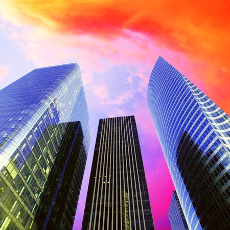 Foto für Modern office  Skyscrapers on the sunny beautiful sky - Lizenzfreies Bild