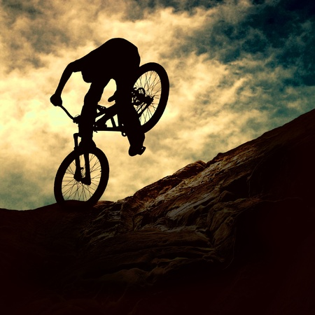 Mountain Bike Sunset Mural Wallpaper