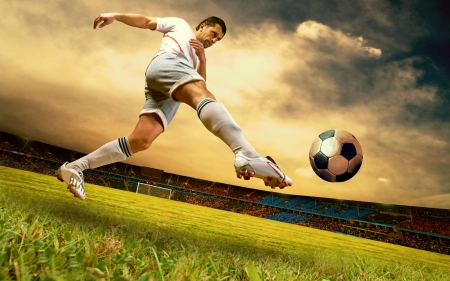Photo pour Happiness football player on field of sports competition stadium on sunrise sky - image libre de droit