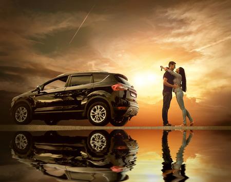 Photo pour Happiness couple stay near the new car under sky with reflex - image libre de droit