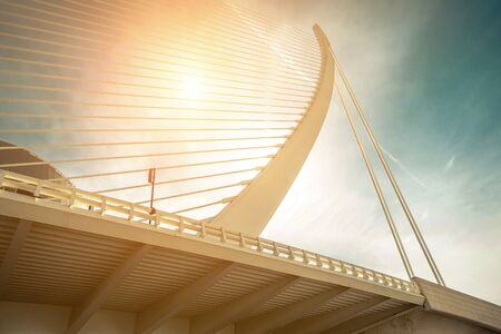 Photo for Beautiful view on the Modern Architecture building white Bridge in Valencia - under blue sky in sunny day. - Royalty Free Image