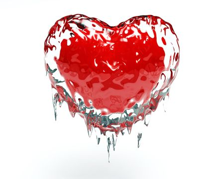 Red hot red heart in cold ice