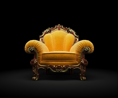 Old-fashioned chair on black background 3D render