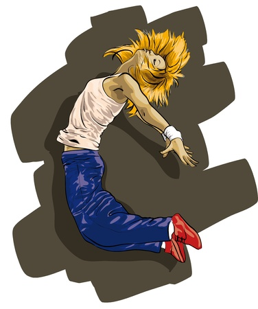 beautiful girl hip hop dancer  Vector Illustratio