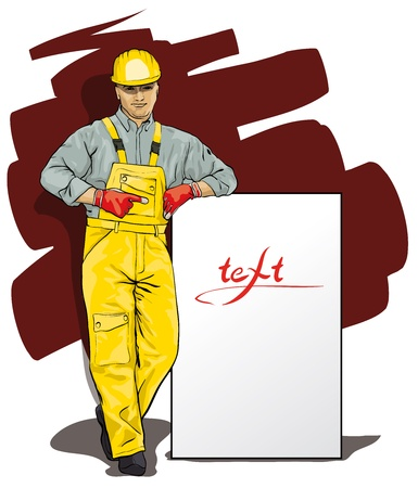 a man working in special protective clothing and helmet (Vector Illustratio)