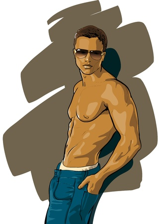 Ilustración de tanned guy with a beautiful figure (Vector Illustratio) - Imagen libre de derechos