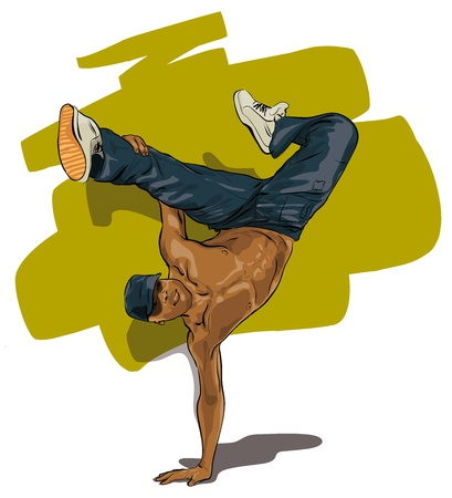 dancers performing acrobatic action (Vector Illustratio)