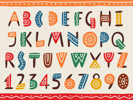 Illustration pour Tribal ethnic bright alphabet and number Hand drawn graphic font in african or indian style Primitive simple stylized design - image libre de droit