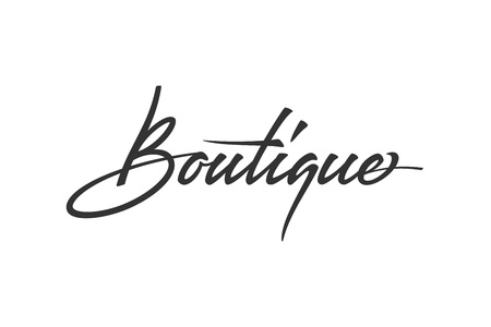Ilustración de Boutique logo design. Vector sign lettering. Logotype calligraphy - Imagen libre de derechos