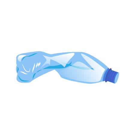 Illustration pour Blue crumpled plastic bottle isolated on white background - image libre de droit