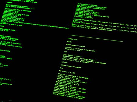 Photo for Computer Command Line Interface (CLI). Green code in command line interface on black background - Royalty Free Image