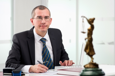 Lawyer or notary public at contemporary office
