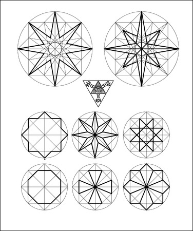Impossible geometry symbols vector set on white background.Sacred geometry symbols and signes vector illustration. Hipster tattoo. Flower of life symbol. Metatrons Cube.