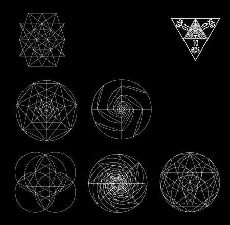Sacred geometry symbols and signes vector illustration. Hipster tattoo. Flower of life symbol. Metatrons Cube.