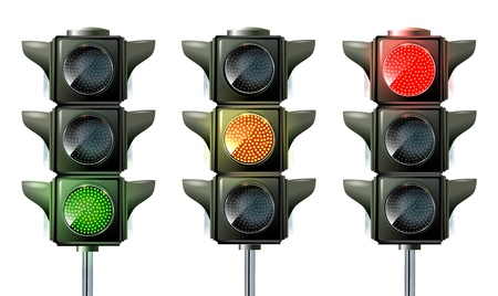 Illustration for Traffic light, traffic light sequence vector. Red, yellow, green lights - Go, wait stop - Royalty Free Image