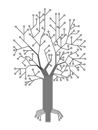 Microchip background vector illustration.chip in the form of a tree. Vector wallpaper