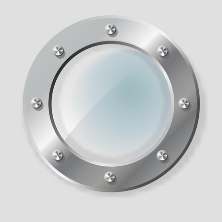 .Realistic Illustration of metal porthole of various shape on transparent background isolated vector illustration.