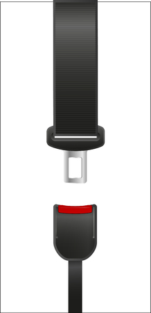 Illustration pour Seat Belt icon isolated on white background. Safety of movement on car, airplane. Vector illustration realistic design. Protection driver and passengers. Fastened buckle symbol. - image libre de droit