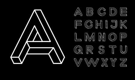 Impossible shape font  Memphis style letters  Colored