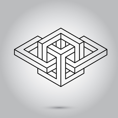 Impossible geometry symbols vector on grey background.Sacred geometry symbols and signes vector illustration. Hipster tattoo. Flower of life symbol.