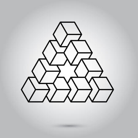 Impossible geometry symbols vector on grey background Sacred