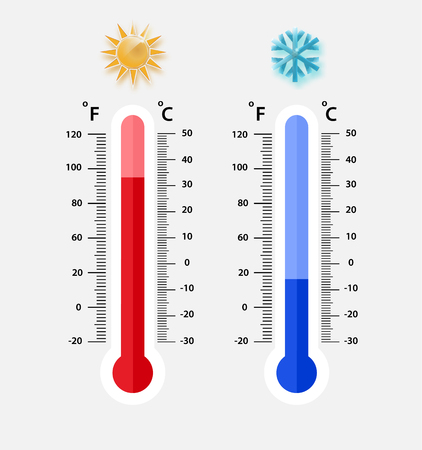 Illustration for Celsius and fahrenheit meteorology thermometers measuring. heat and cold, vector illustration. Thermometer equipment showing hot or cold weather.- Vector EPS 10 - Royalty Free Image