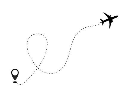 Ilustración de Airplane line path vector icon of air plane flight route dash line trace with start point . Vector object 10 EPS. - Imagen libre de derechos