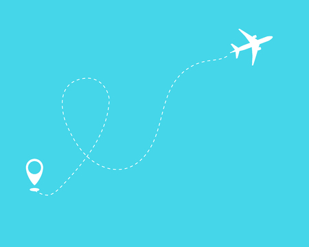 Illustration pour Flat plane and its track on blue background. Vector illustration 10 eps. - image libre de droit