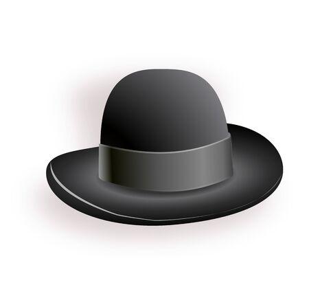 Illustration for Black hat with black ribbon. Magic hat. Vector hat illustration EPS10 - Royalty Free Image