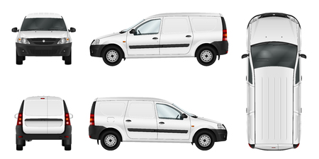 Photo pour White vector car isolated template. Blank cargo delivery minivan. Separate groups and layers. - image libre de droit