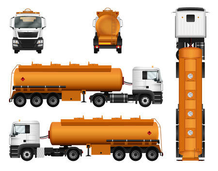 Illustration for Gas tanker truck trailer vector template. Isolated cargo car on white background. - Royalty Free Image