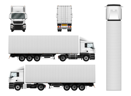 Illustration pour Truck trailer with container. Vector semi truck template on white. Cargo delivery vehicle. Separate groups and layers. - image libre de droit