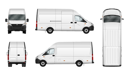 Photo pour Cargo van vector illustration on white. City commercial minibus template. Isolated delivery vehicle. Separate groups and layers. - image libre de droit