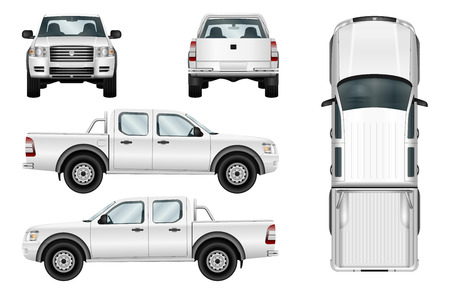 Ilustración de Pickup truck vector template isolated car on white background. All elements in groups on separate layers. - Imagen libre de derechos