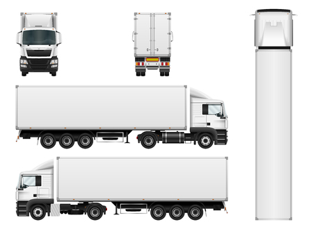 Ilustración de Vector truck trailer template isolated on white background. Cargo delivering vehicle. All elements in groups on separate layers. - Imagen libre de derechos