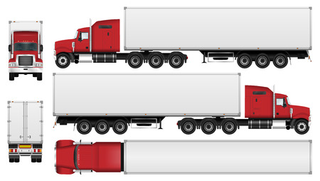 Ilustración de Big truck with trailer vector template. Semi truck isolated on white background. All elements in groups on separate layers. The ability to easily change the color - Imagen libre de derechos