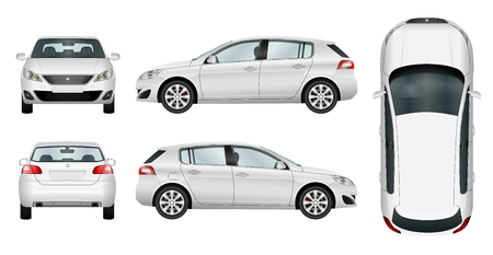 Illustration for Car vector template on white background. Hatchback isolated. All elements in groups on separate layers. The ability to easily change the color. - Royalty Free Image
