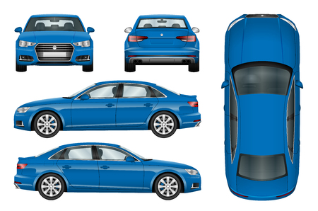 Ilustración de Blue car vector template on white background. Business sedan isolated. All elements in groups on separate layers. The ability to easily change the color. - Imagen libre de derechos