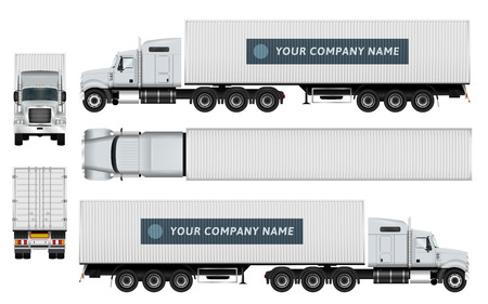 Illustration for Cargo container truck template on white background. The ability to easily change the color.All sides in groups on separate layers. View from side, back, front and top. - Royalty Free Image