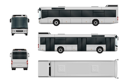 Illustration for City bus vector template. Isolated passenger transport on white background. The ability to easily change the color. All sides in groups on separate layers. View from side, back, front and top. - Royalty Free Image
