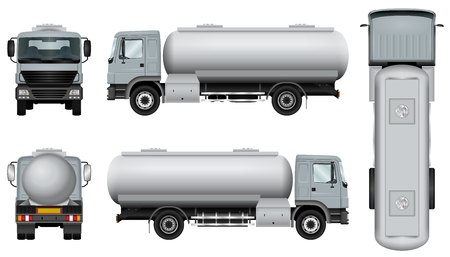 Ilustración de Truck with tank trailer. Tanker car template. The ability to easily change the color. All sides in groups on separate layers. View from side, back, front and top. - Imagen libre de derechos