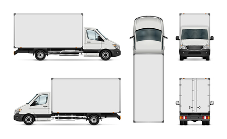 Illustration pour White van vector template. Isolated delivery truck. All elements in the groups have names, the view sides are on separate layers for easy editing. View from side, back, front and top. - image libre de droit