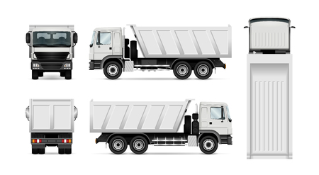 Ilustración de Vector dump truck. Isolated white tipper lorry. All elements in the groups have names, the view sides are on separate layers for easy editing. View from side, back, front and top. - Imagen libre de derechos