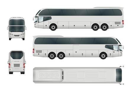 Ilustración de White bus template. Tourist coach isolated on white. All elements in the groups have names, the view sides are on separate layers. - Imagen libre de derechos