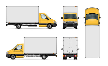 Ilustración de Van vector template for car branding and advertising. Isolated delivery truck set. All layers and groups well organized for easy editing and recolor. View from side, front, back, top. - Imagen libre de derechos