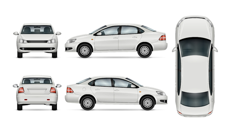 Ilustración de White car template for car branding and advertising. Isolated sedan on white background. All layers and groups well organized for easy editing and recolor. View from side; front; back; top. - Imagen libre de derechos