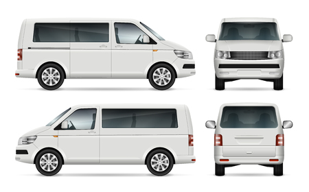 Illustration pour Mini bus vector template for car branding and advertising. Isolated city minibus on white background. All layers and groups well organized for easy editing and recolor. View from left and right side, front, back. - image libre de droit