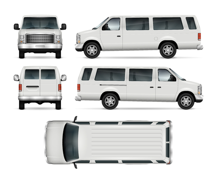 Ilustración de Passenger van vector template for car branding and advertising. Isolated mini bus on white background. All layers and groups well organized for easy editing and recolor. View from side, front, back, top. - Imagen libre de derechos