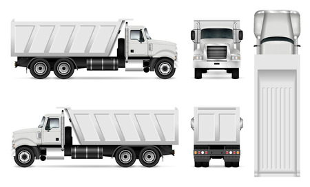 Illustration for Vector dump truck template for car branding and advertising. Tipper truck set on white background. All layers and groups well organized for easy editing and recolor. View from side, front, back, top. - Royalty Free Image